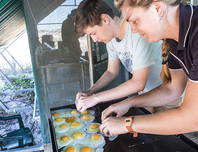 Breakfast on the BBQ Cygnet Bay Safari Camp
