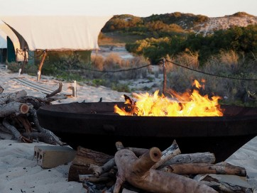 Camp fire on the beach Cygnet Bay